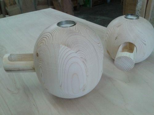 Designermöbel, Kugelleuchter Aus Holz Mit Geheimfach