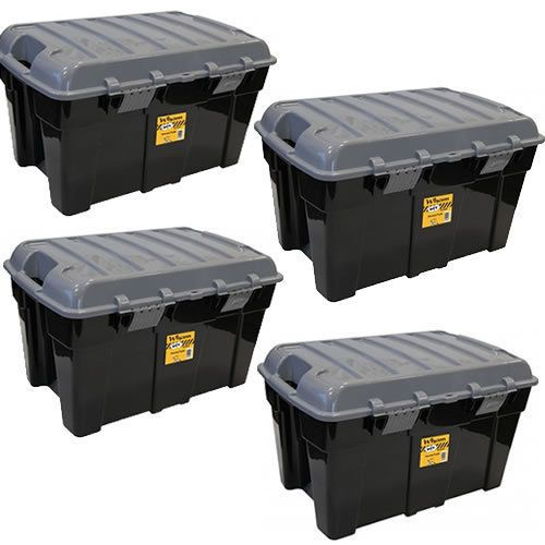 Delightful 4 X WHAM 48L XL DIY BLACK GREY STACKABLE STURDY PLASTIC STORAGE TRUNK TOY CHEST  | Pickup Prep | Pinterest | Storage Trunk