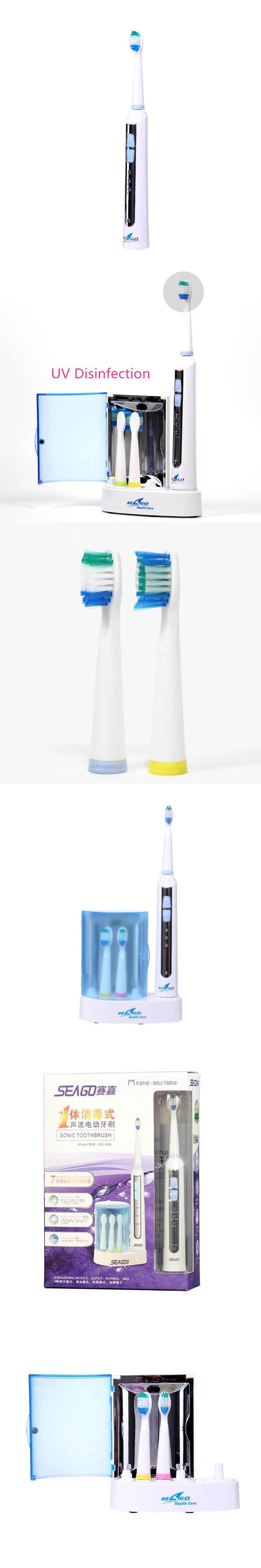 Rechargable Sonic Electric Toothbrush for Adults 4 brush heads Uv sterilizer Waterproof IP7 220V-240V Seago SG-908
