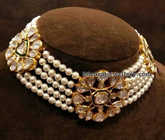 Pearl Choker with Kundan Flowers - Jewellery Designs
