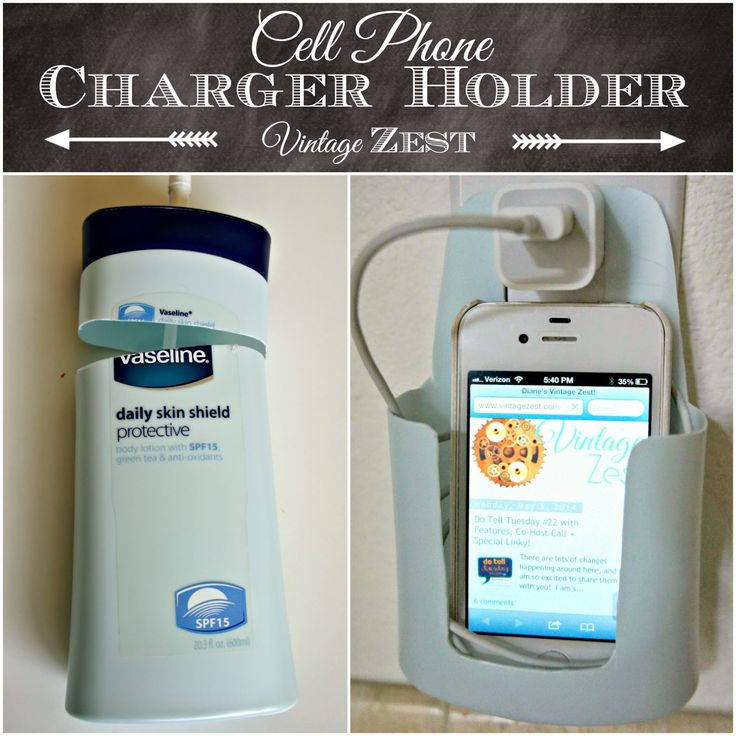 Cell Phone Charger Holder (upcycled from a lotion bottle!) on Diane's Vintage Zest!
