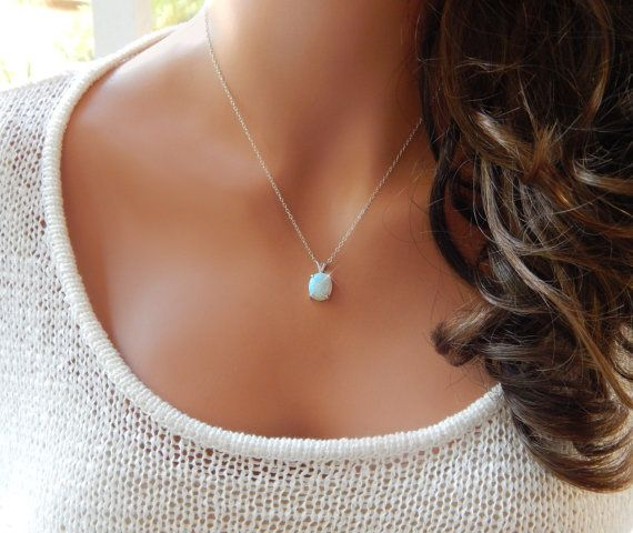 White Opal Necklace Sterling Silver Opal by SimpleAndLayered