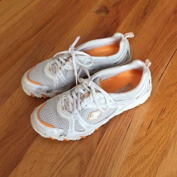 Skechers sport shoes, white with orange trim Ladies Skechers Sport sneakers, white mesh with orange trim, lightly used Skechers Shoes Sneakers
