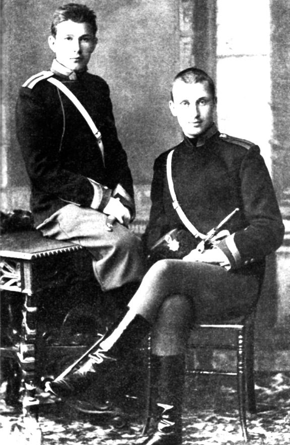 Baron Carl Gustaf Emil Mannerheim (1867 – 1951) was a Finnish military leader & statesman. Mannerheim (right) with a fellow student, Antanas Ričardas Druvė in Nicholas Cavalry School, St Petersburg, late 1880s. Mannerheim served as the military leader of the Whites in the Finnish Civil War, Regent of Finland (1918–1919), Commander-in-Chief of Finland's Defence Forces during World War II, Marshal of Finland, & the sixth President of Finland (1944–1946).