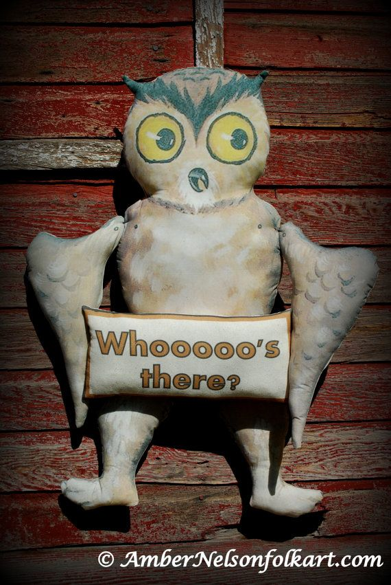 Amber Nelson vintage retro antique old world Halloween Fall autumn  Owl Whooo's There? welcome greater door wreath hanger decoration HUGE