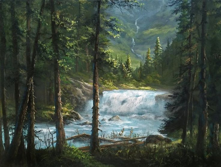 """""""Canadian Waterfall"""" Oil Painting by Kevin Hill    Watch short oil painting lessons on YouTube: KevinOilPainting  Visit my website: www.paintwithkevin.com  Find me on Facebook: Kevin Hill  Follow me on Twitter: @paintwithkevin"""