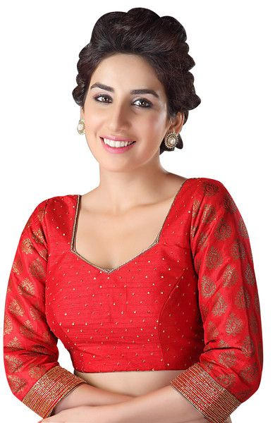 Stylish Red Long Sleeve Party-Wear Saree Blouse KP-43