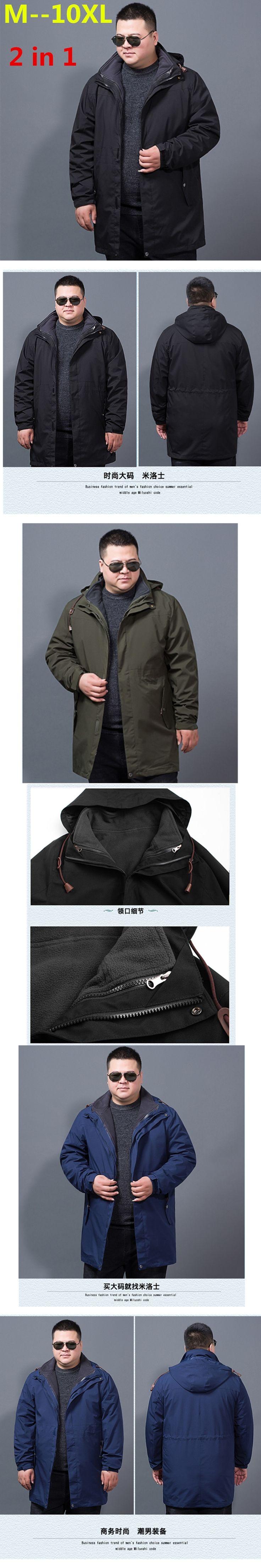 new  plus size  8XL 6XL 5XL 4XL winter jacket men 2 in 1 parka jacket thicken warm windproof waterproof parka men hooded coat