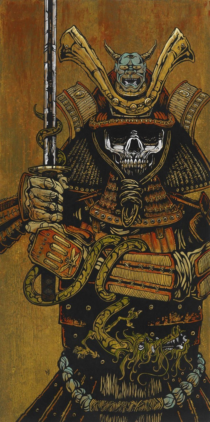 By the Sword of the Samurai by David Lozeau Skeleton Giclee Art Print