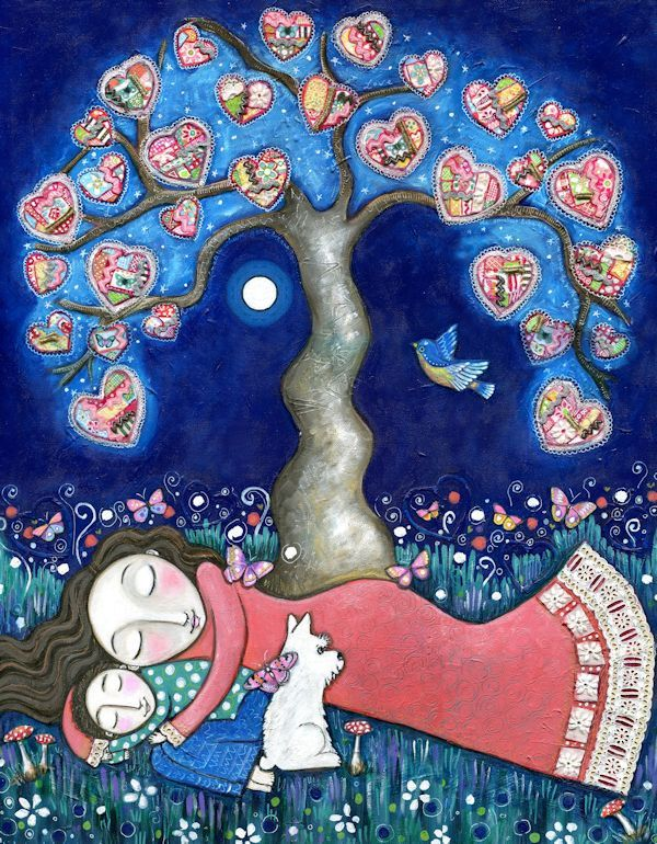"Tree print whimsical folk art romantic wall decor women mother son scottie dog paper patchwork hearts mixed media painting - ""Nomads"". $20.00, via Etsy."