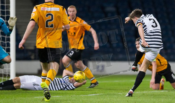Queen's Park's Sean Burns' shot is blocked during the SPFL League Two game between Queen's Park and Annan Athletic.