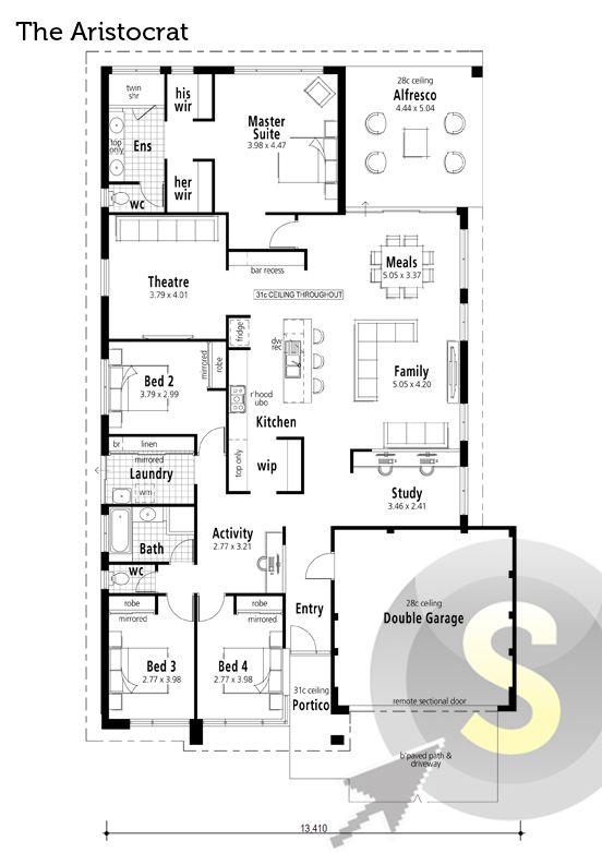 'The Aristocrat' floorplan. 15m frontage. 4x2. Alfresco, theatre, bar recess near kitchen, walk through pantry, study, activity room & his'n'hers walk-in robes in the rear master suite.    View Elevation: http://www.pinterest.com/pin/575264552374221910/    #houseplan #floorplan #smarthomesforliving