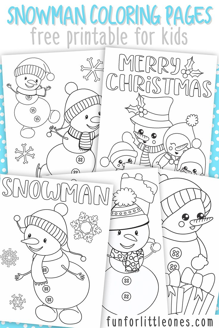 Snowman Coloring Pages For Kids Free Printable Anglais
