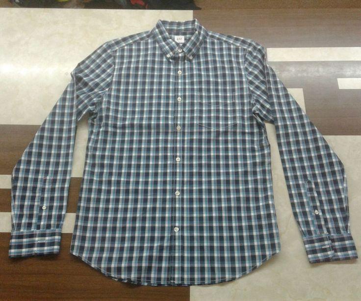 GAP Men s Blue Plaid Button Down Shirt Slim Fit Size Med