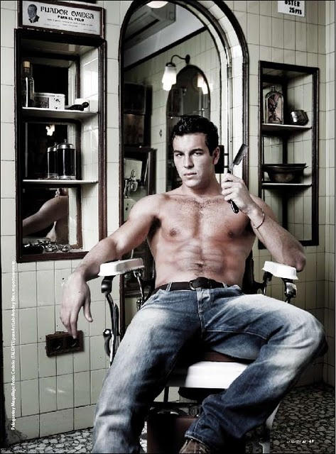 Apparently, Ulises likes hanging out in the barbers without a shirt on when he's out of the boat.