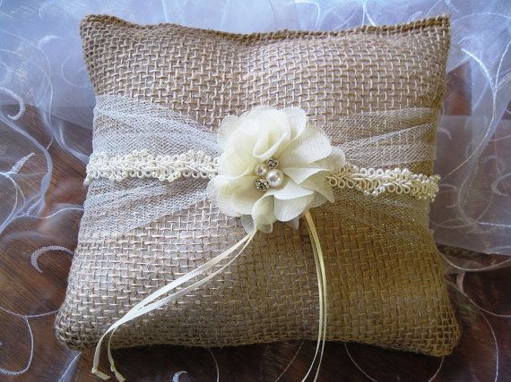 Burlap shabby chic garden country ring bearer pillow by lilmommas, $15.00