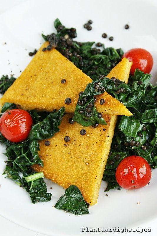 Plantaardigheidjes: Krokante polenta driekhoekjes met palmkool/linzen salade
