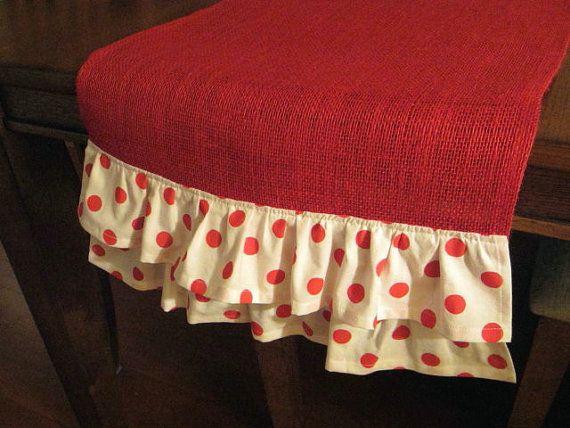 Red Ruffled Table Runner Valentine Day Runner Polka By DotAndAnn, $35.00
