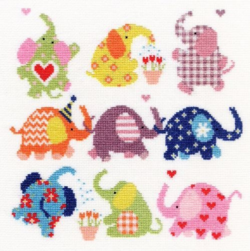 Sightly Dotty Elephants - Bothy Threads cross stitch kit