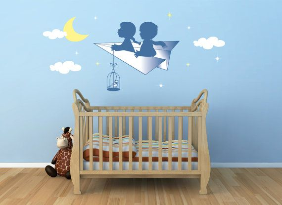 Wall decals kids Wall Stickers Bambini Adesivi Murali Nursery Camerette Bimbo Kit L' Aeroplano di Carta