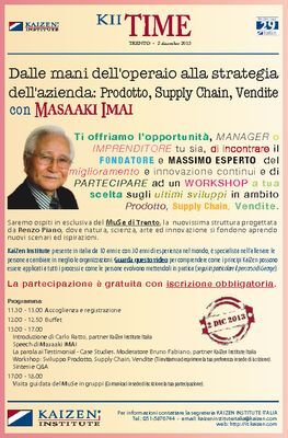 """Masaaki Imai in Italy December 2nd.  The Kaizen Guru is going to Italy to share decades of experience  We offer the opportunity for managers or entrepreneurs to meet Massaki Imai, the founder and top expert in continuous improvement and innovation.  Particpate in workshops related to Product, Supply Chain and Sales. Registrations are free.  Come and join us with Masaaki Imai on December 2nd in Italy to learn more about Kaizen Philosophy."""" http://buff.ly/1anTwk4"""