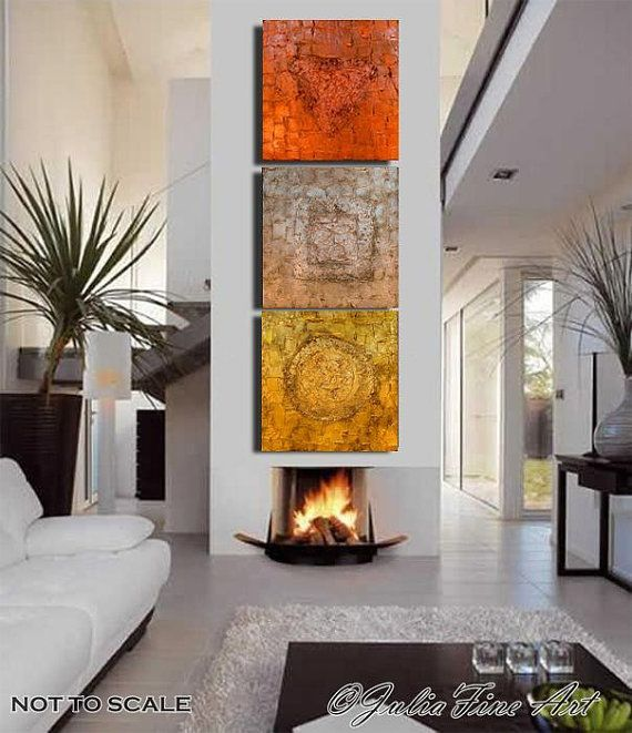 Triptych Abstract PRINT on Canvas 3 Part Painting ''Trinity Gold'' Wall Decor, Mixed Media, Gold, Silver,Copper by Julia Apostolova