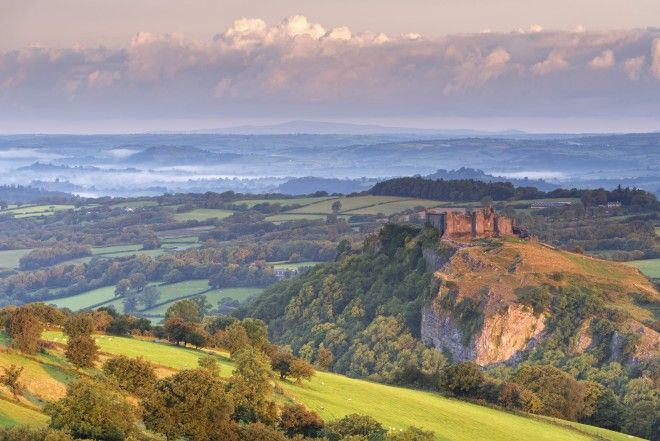 Carreg Cennen Castle in the Brecon Beacons, Carmarthenshire, Wales