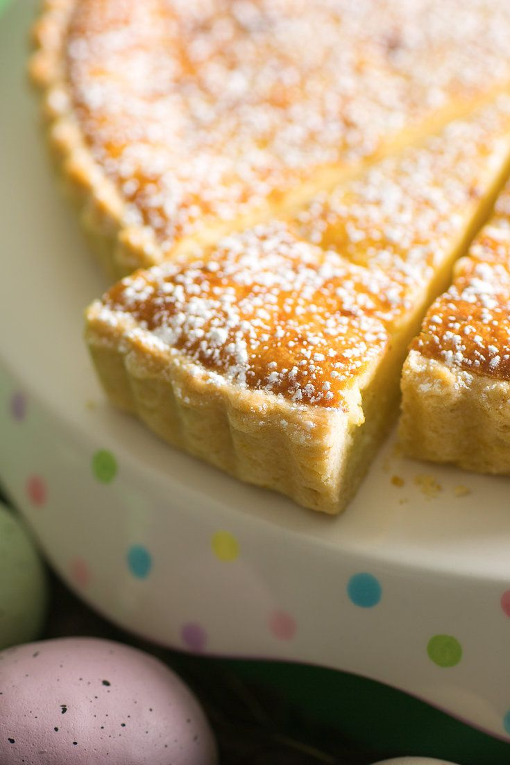 """This is a custard tart, with rice, lemon and almonds in the filling, which is served only at Easter in Switzerland. """"It was called gâteau de Pâques and I remember it very well,"""" said Gray Kunz, the chef who was born in Singapore but grew up in Geneva and Bern. (Photo: Francesco Tonelli for The New York Times)"""
