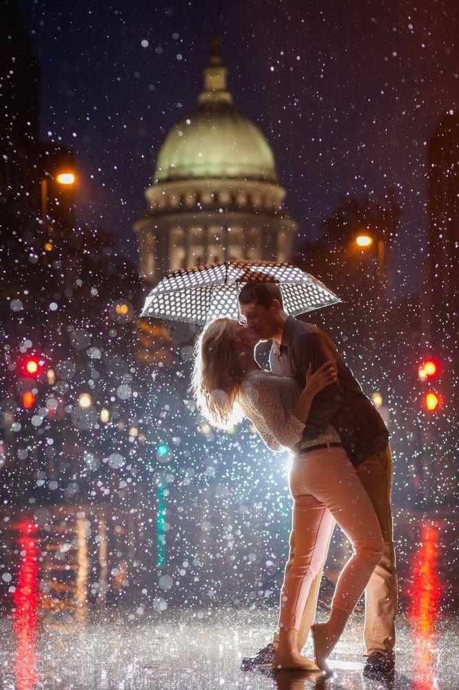 Loving kiss in rain