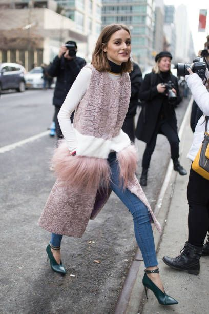 Olivia Palermo is seen on the street attending SelfPortrait during New York Fashion Week wearing a furwaist coat on February 10 2018 in New York City