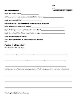 Apa Citation Worksheet Putting It All Together Public Records Student Learning Worksheets