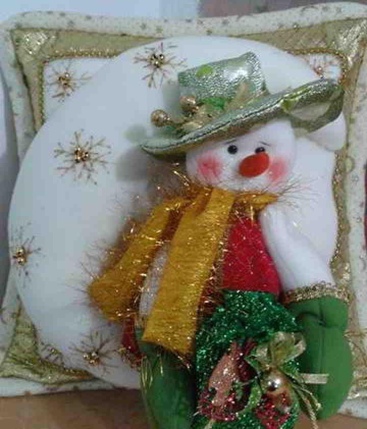 Cojin muñeco de nieve brillante