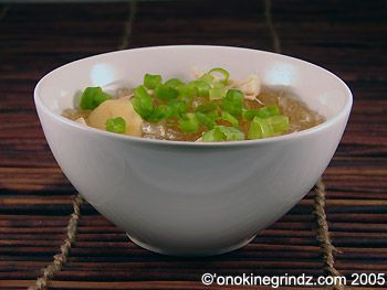 """Chicken Long Rice has been a staple in my life and is my #1 go-to meal when I feel awful, so I wanted to share! """"Long rice"""" is bean thread noodle (super thin and see through). In addition to this recipe I add soy sauce and either green beans, or green papaya instead of green onion. Serve with steamed rice :)"""