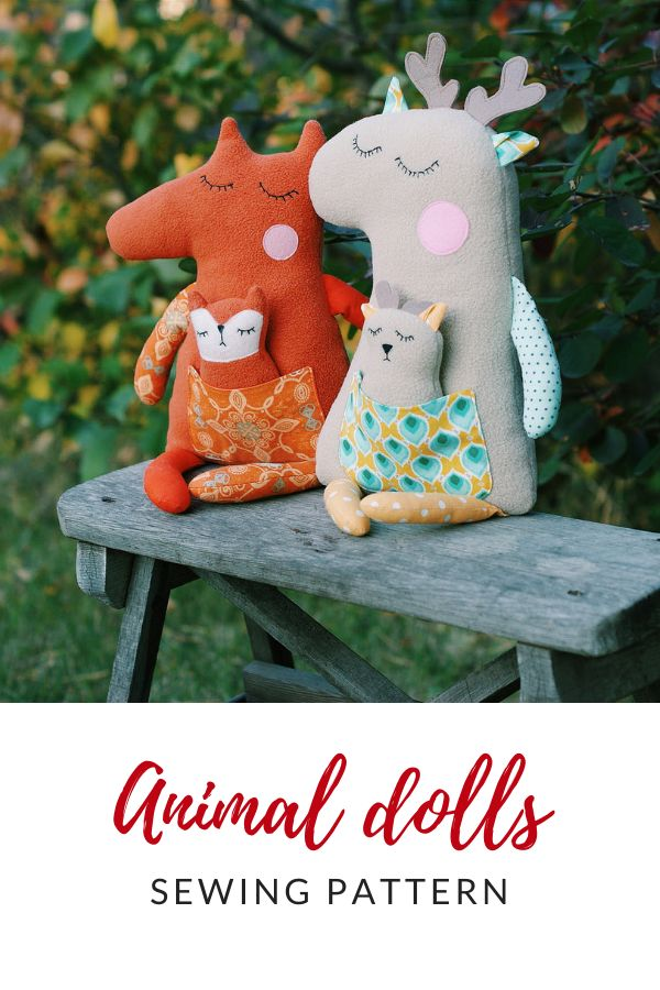 Woodland stuffed animal sewing pattern PDF Forest animal tutorial woodland nursery decor Animal doll sewing pattern for beginner Easy PDF