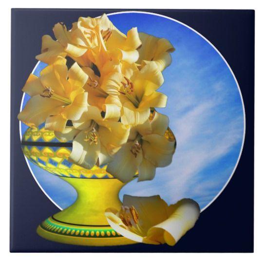 Yellow Bouquet Yellow Vase Tile