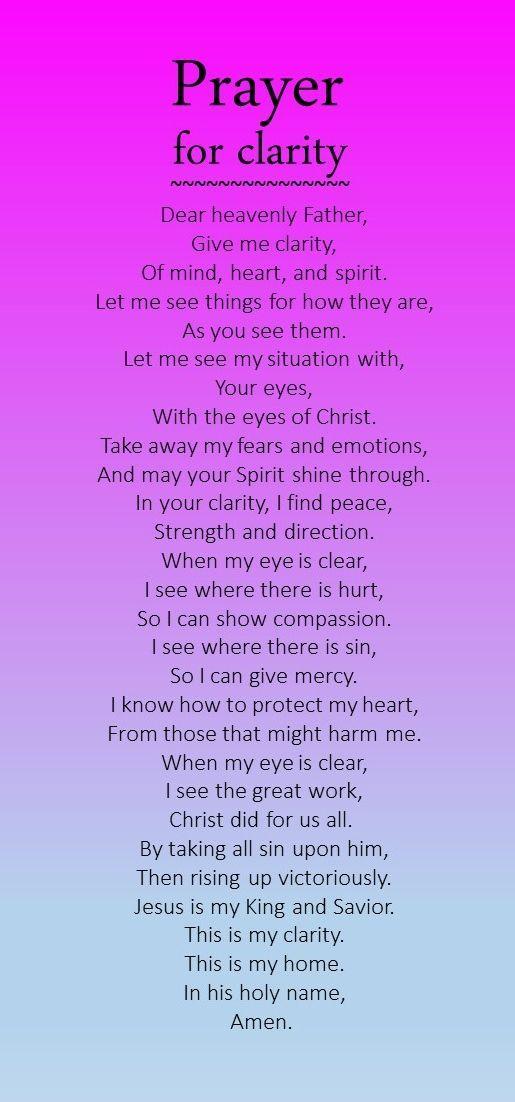 Prayer for clarity