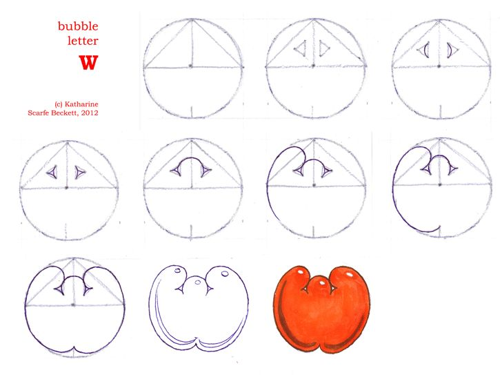 how to draw bubble letters az step by step