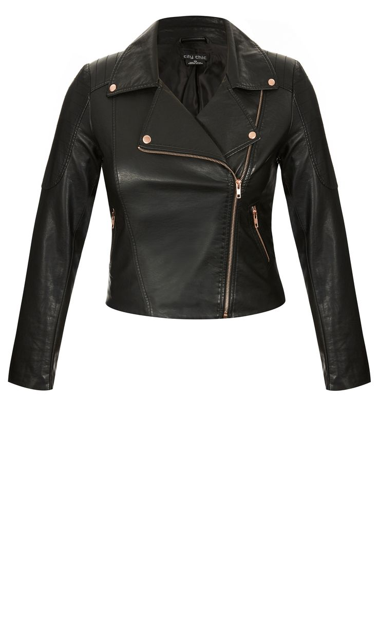 Add some rock chick sex appeal to any outfit with the Zip Biker Jacket.     Key Features Include:    - Classic jacket collar and lapel  - Asymmetric front zip closure  - Full length sleeves with stitching detail  - Front zip pockets  - Rose gold detailing throughout  - Fully lined