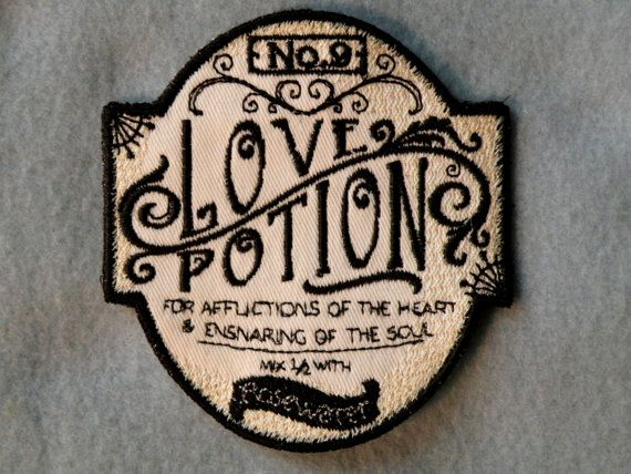 Love Potion No.9 Iron on Patch on Twill by GerriTullis on Etsy, $11.00