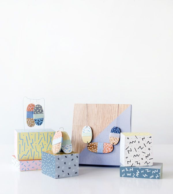 New hand painted accessories by Andrea Shaw of Stampel, created exclusively for fabulous Fitzroy store, Dagmar Rousset via thedesignfiles.net