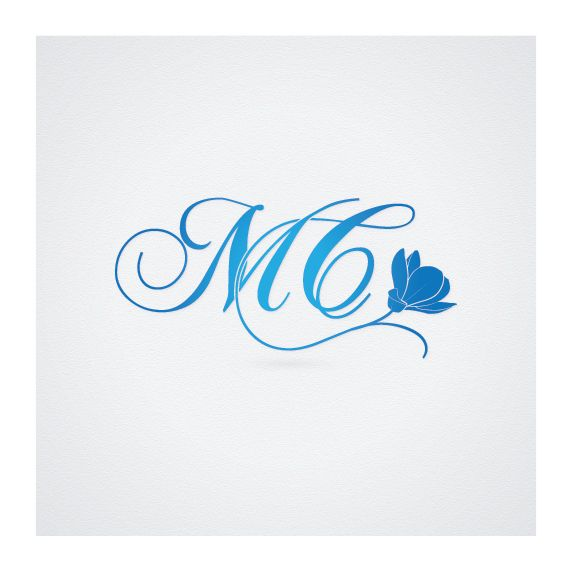 Свадебная монограмма, инициалы, initial wedding #monogram with magnolia flower