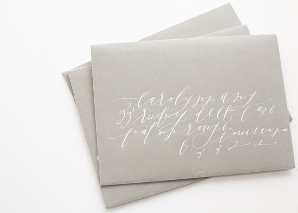Gray White Calligraphy Envelope