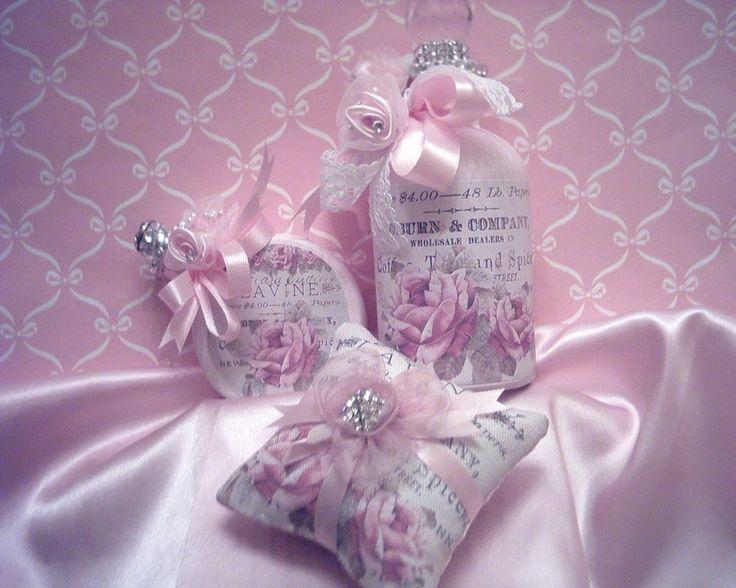 Victorian Sachet Pillows : Shabby Victorian~Mini Sachet Pillow~PINK Satin~Vintage Rose Label~~OOAK ALTERED BOTTLES ...