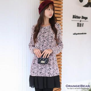 OrangeBear - Inset Chiffon Dress Long-Sleeve Floral Top
