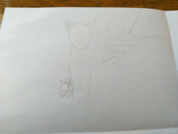 31 augustus: Aan het einde van de les mochten we nog even aan het huiswerk werken voor volgende week. Je moet 3 ontwerpen hebben voor je tekening. Dit is er 1 van mij, het meisje staat met de kom in haar handen en ef komt damp af. Rechts bovenin is een hele grote neus die het stoom (de geur) ruikt.