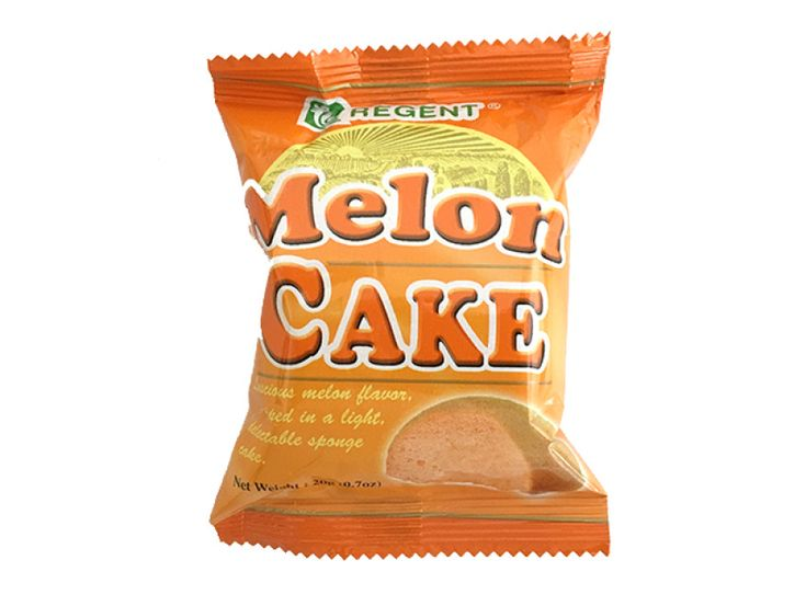 Real fruit flavor in a soft sponge cake from the Philippines, Regent Melon Cakes are yummy and now offered for sale online in the US with international shipping.