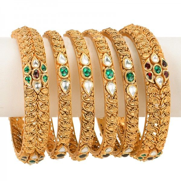 #Stackable #bangles for #brides , in a textured design, available in set of 6…