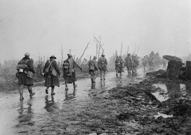 British troops coming out of the trenches. Guillemont, Somme.