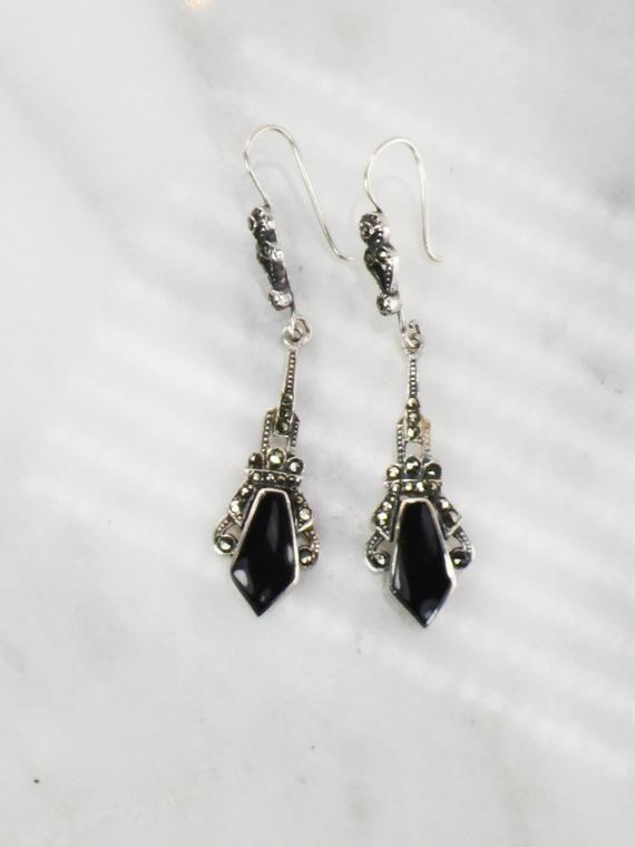 925 Sterling Silver Polished Black Onyx Dangle Earrings