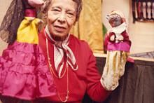 Picture: Pura Belpré with puppets. The Belpré Award honors a Latino writer and illustrator whose children's books best portray, affirm and celebrate the Latino cultural experience. 2015 winners are VIVA FRIDA and I LIVED ON BUTTERFLY HILL.